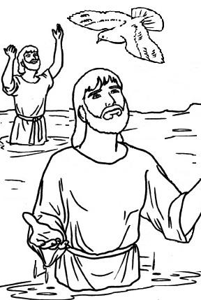 Dibujo del Bautizo de Jesús para colorear