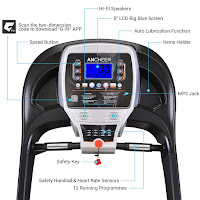 """Ancheer S9300's console with 5"""" blue LCD screen, displays time, speed, distance, calories, pulse"""