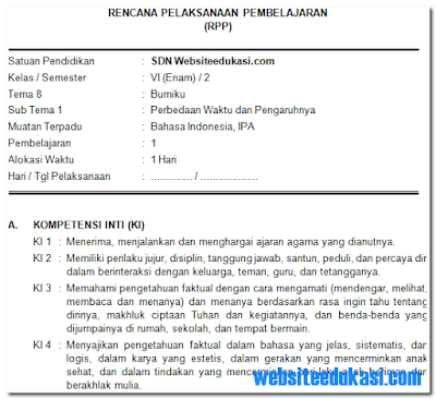 pada postingan ini admin akan membuatkan RPP Kelas  RPP Kelas 6 Tema 8 Kurikulum 2013+ Revisi 2019