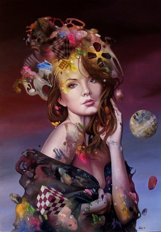 Dragan Ilic Di Vogo arte pinturas realismo mágico fantástico fantasia surreais mulheres cores texturas beleza