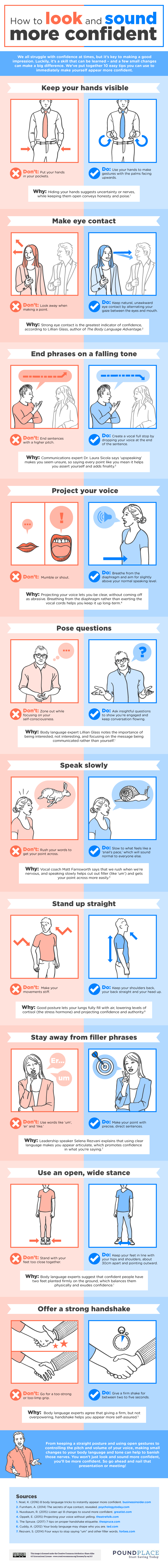 How To Look And Sound More Confident - infographic