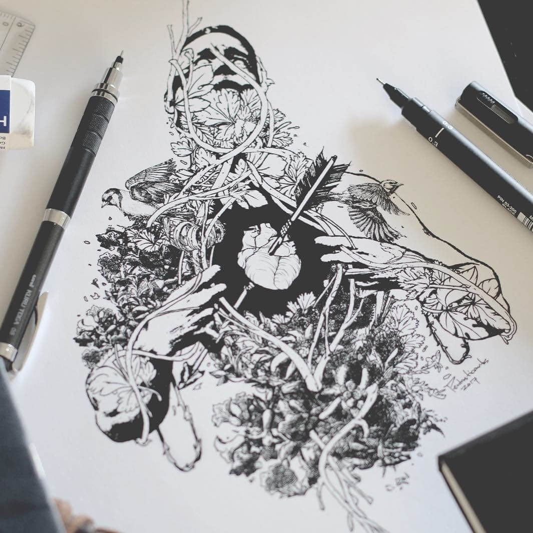 10-Heart-Joseph-Catimbang-Detailed-Black-and-White-Ink-Drawings-www-designstack-co