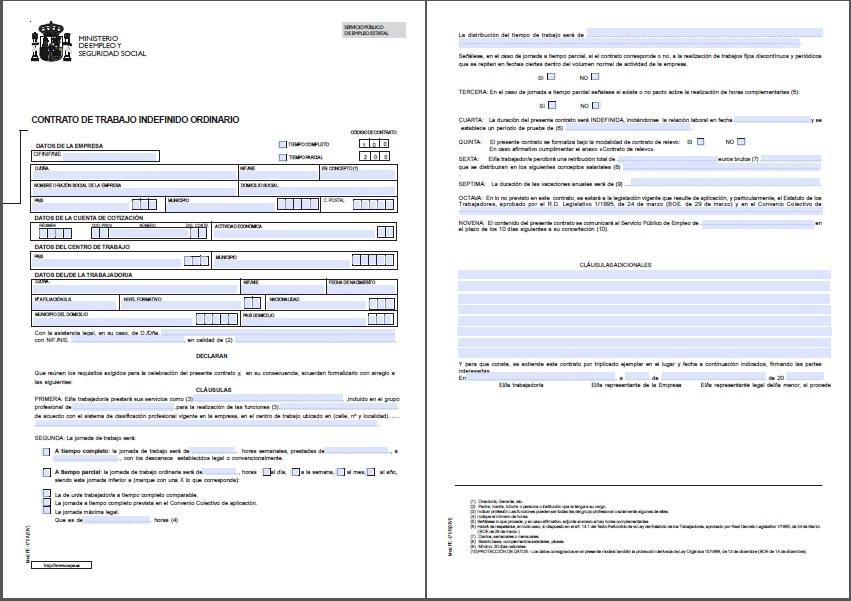 Econ micamente contratos de trabajo for Contrato indefinido ejemplo