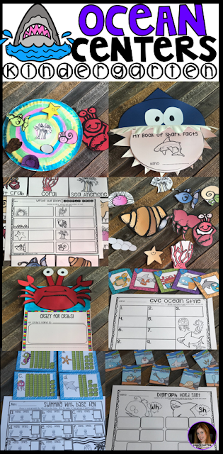 Ocean Centers Math and Literacy Crafts and Activities is perfect for springtime in kindergarten or summer school for students moving from kindergarten to first grade. There are tons of hands on craftivities, writing, literacy and math center that students will love.