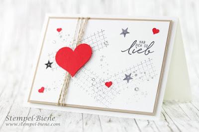 Valentinstagskarte; Stempelpartyprojekt; Valentinstagskarte basteln; Stampinup Timeless Textures; stempel-biene; Stampinup bestellen