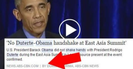 MUST WATCH: Obama disagree ABS-CBN's claim that no handshake occurred between him and Duterte