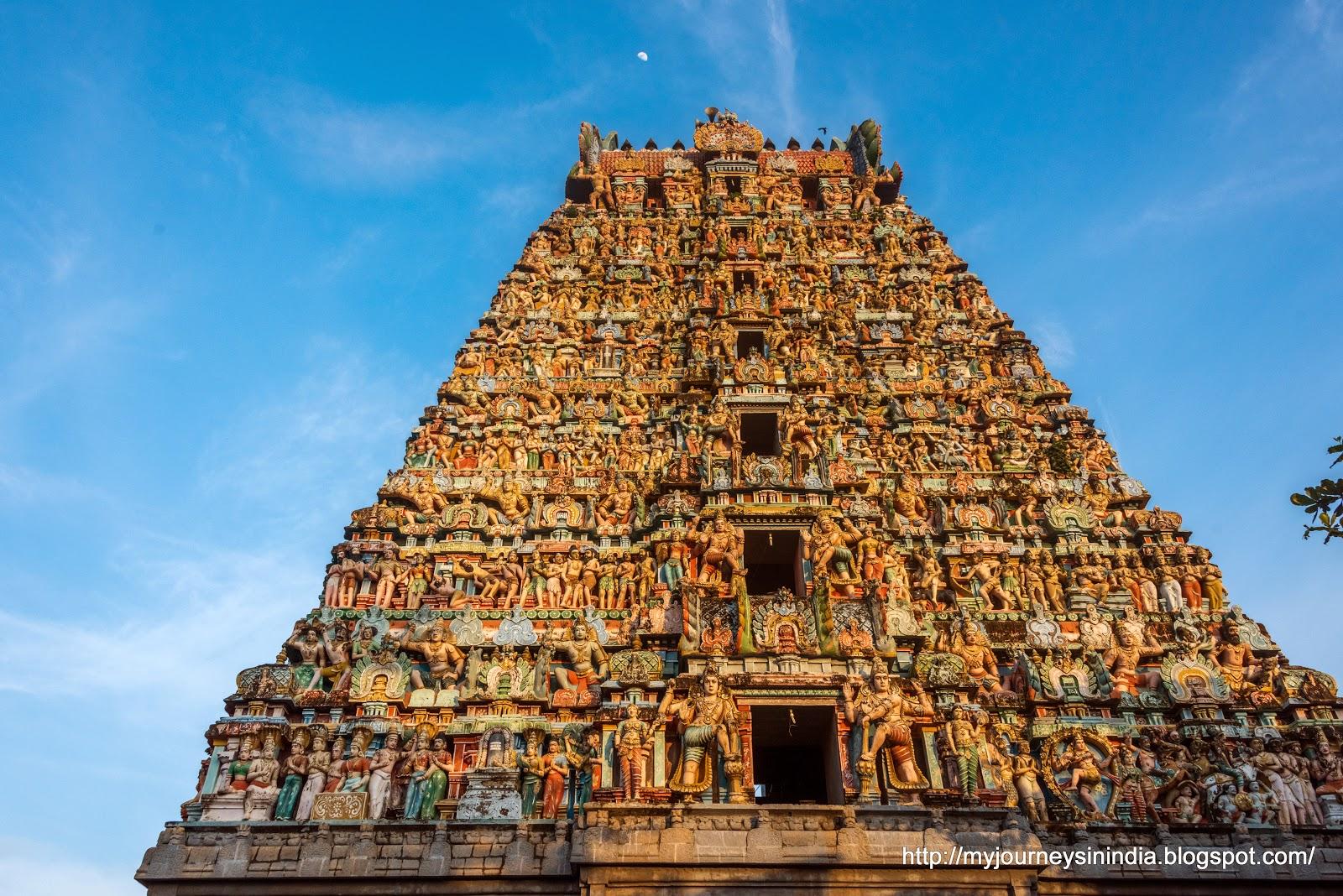 Thiruppanandal ArunaJadeswarar Temple Tower and Moon
