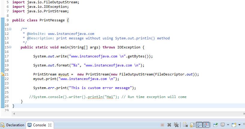 java example program to print message without using system