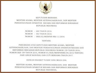Revisi Perubahan Libur Nasional dan Cuti Bersama 2017 Tambah 3 Hari