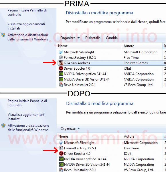 Programma nascosto nella lista di quelli installati nel PC
