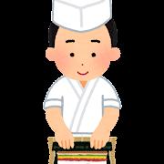 巻き寿司を作る板前のイラスト