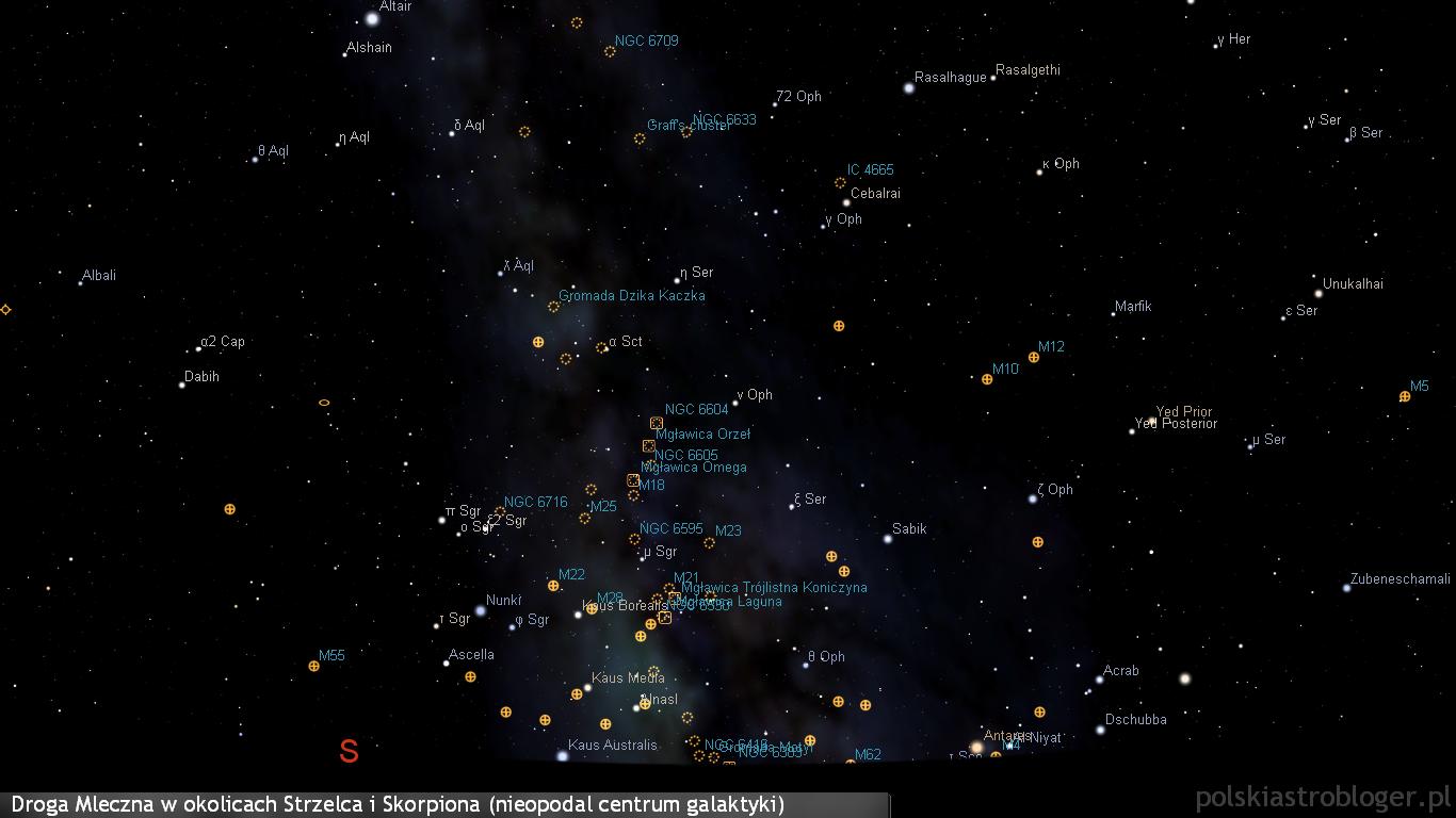 Droga Mleczna w okolicach Strzelca i Skorpiona niżej nad południowym i południowo-zachodnim horyzontem. To obszar nieodległy od centrum naszej galaktyki obfitujący w gromady gwiazdowe, obłoki pyłowe i rozmaite mgławice - mnóstwo z tych obiektów ukażą lornetki i niewielkie teleskopy.