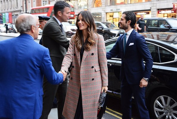 Princess Sofia wore 2nd Day Checked Duster Coat, Princess Sofia wore Sandro long sleeved dual fabric dress