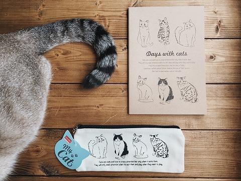 ダイソーの猫ノート、猫ポーチ、シャムトラ猫のしっぽ