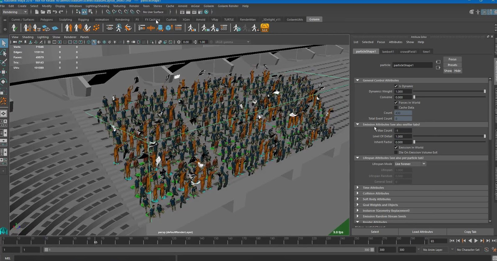Animation tutorial: Populating stadiums with Golaem for Maya