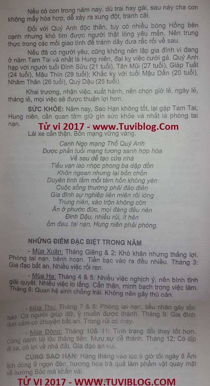 Xem tu vi tuoi Canh Ngo nam 2017