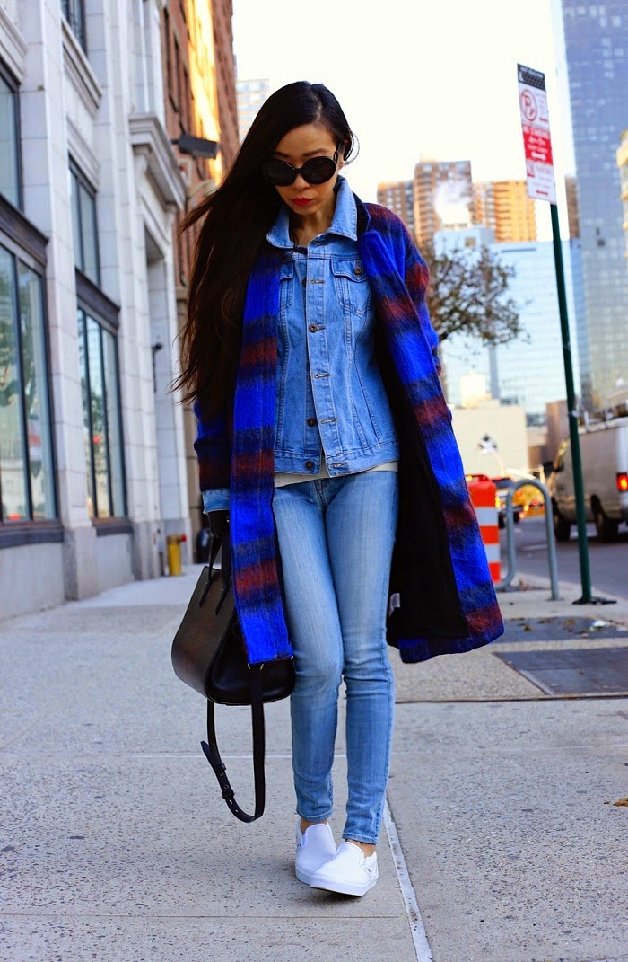 Free people plaid coat,missguided denim jacket, denim jacket winter layering, 7fam jeans, prada sunglasses, alexander wang bag, gloves, vans slip on, fashion blog, winter layering, shall we sasa, new york city, holiday shopping, holiday sales