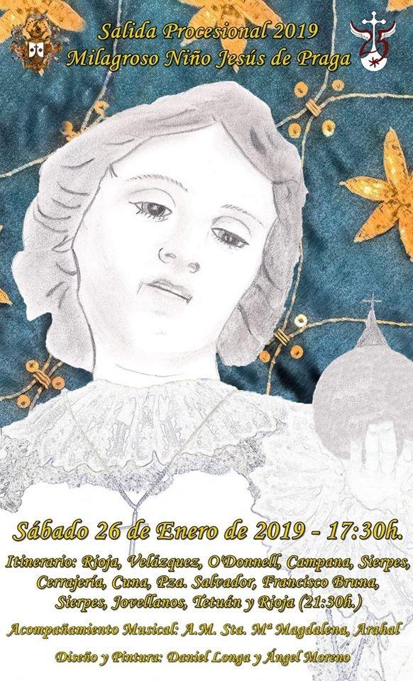Cartel de la procesión del Milagroso Niño Jesús de Praga, obra de Daniel Longa y Ángel Moreno