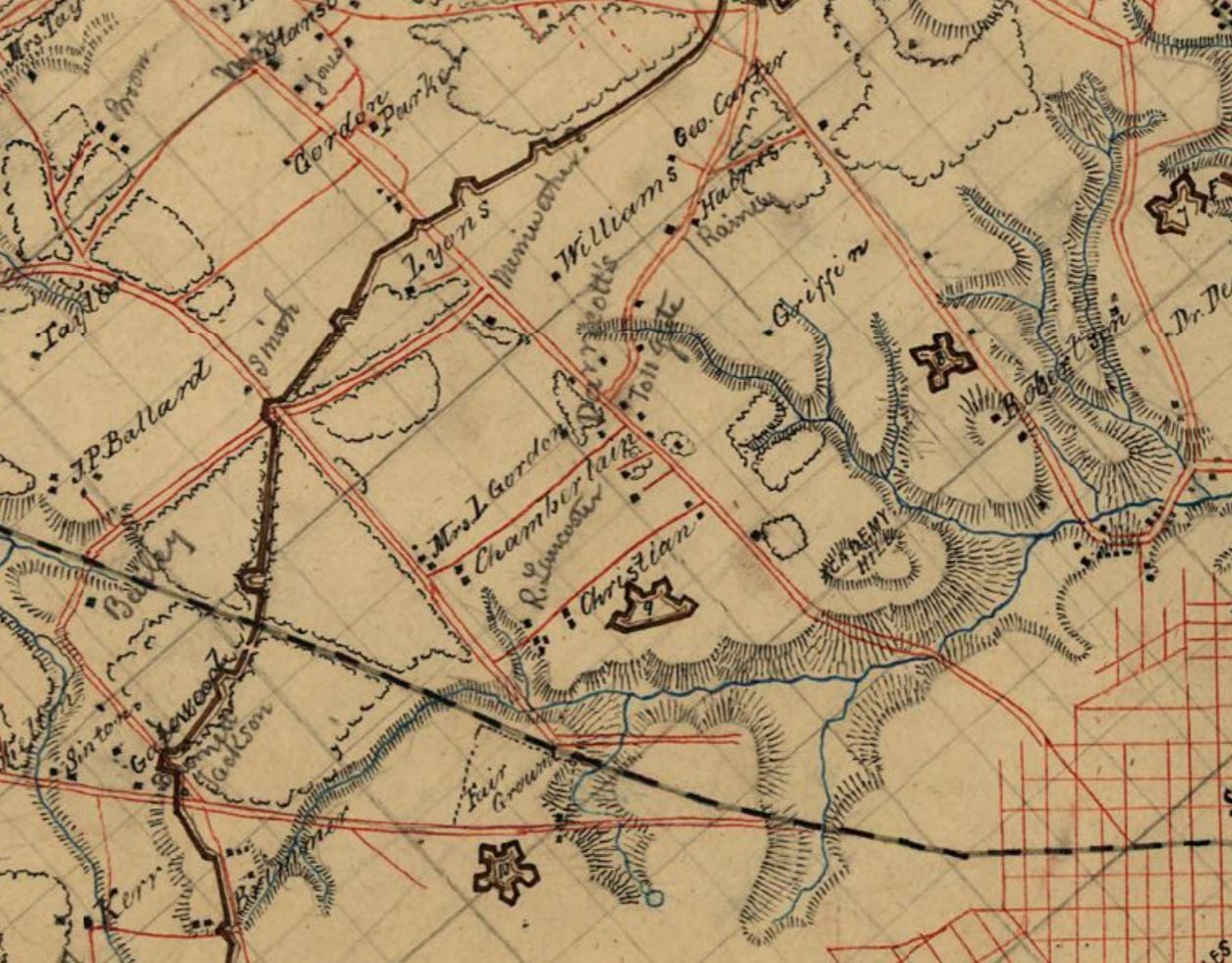 1867 map of richmond by michie reproduced from gilmer map of 1864 meriwether is pencilled next to the westwood cottage on the map