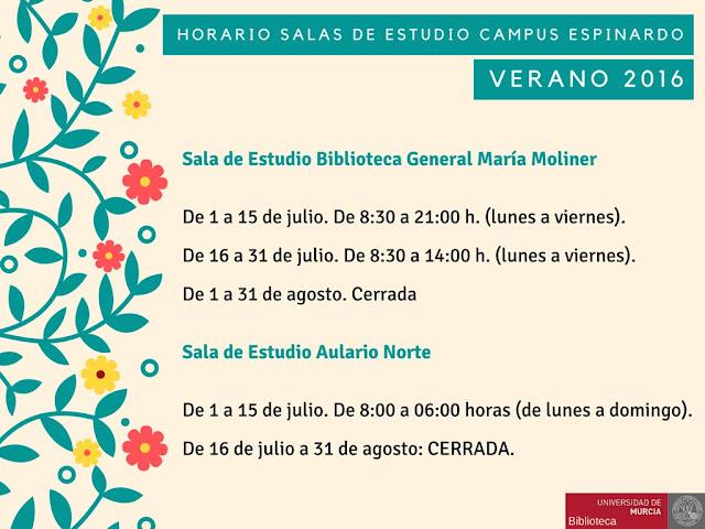 Horarios de salas de estudio en el Campus de Espinardo.