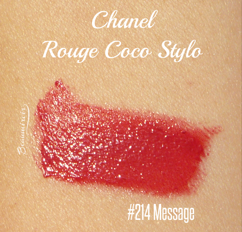 Swatch of Chanel Rouge Coco Stylo Lipshine in 214 Message