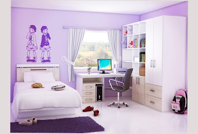 Picture of Bedroom Design For Teenage Girls Purple Color With Computer Table and Chair and Cupboard