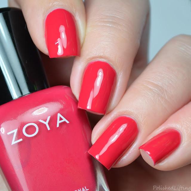 hot coral pink creme nail polish