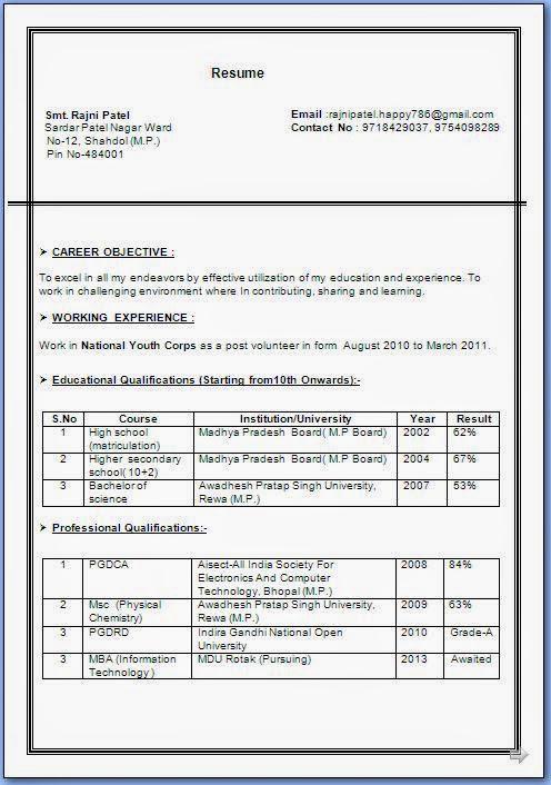 Msc Pysics Resume Format