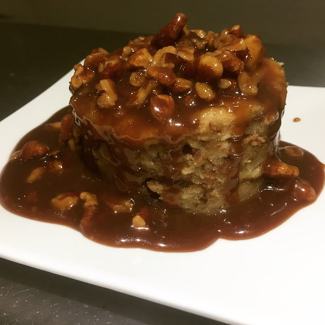 Rosch Bakehaus Pretzel Bread Pudding with Rougaroux 13 Pennies Pecan Praline Sauce