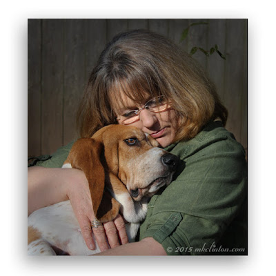 Hugging Bentley the Basset Hound