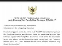 Download Naskah Pidato Hardiknas Kemendikbud 2 Mei 2017