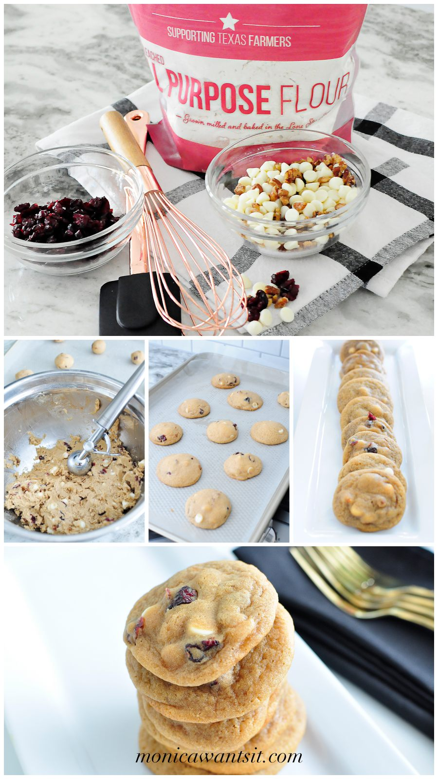 BEST COOKIES EVER- white chocolate cranberry cookies are soft, chewy and delicious! Perfect dessert for Thanksgiving and Christmas baking.