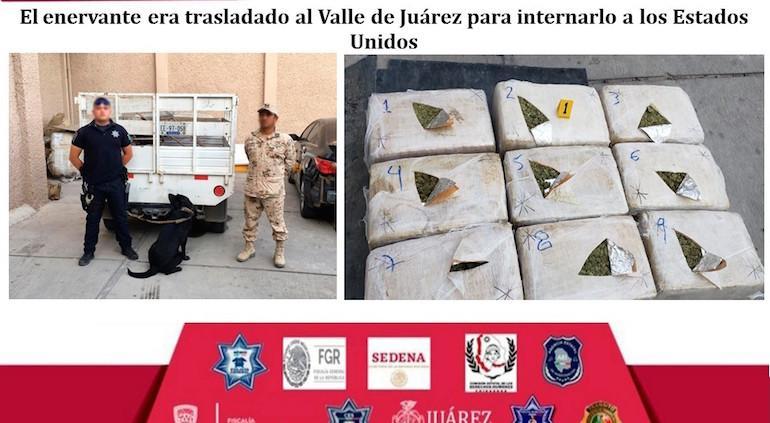 Caen  dos integrantes del Cártel de Sinaloa con 93 kilos de marihuana oculta en camioneta con doble fondo.