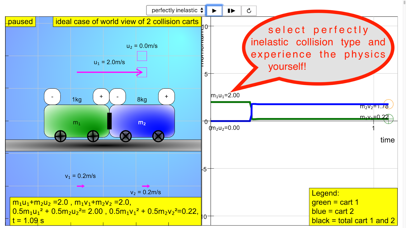Collision Carts JavaScript HTML5 Applet Simulation Model