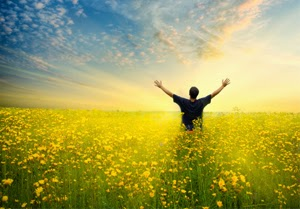 Man showing gratitude for all the abundance in his life