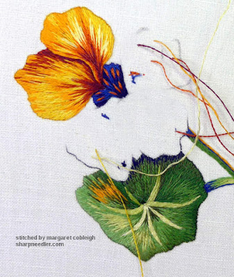 First needlepainted nasturtium petal after changing it. (Catherine Laurencon Capucines (Inspirations))