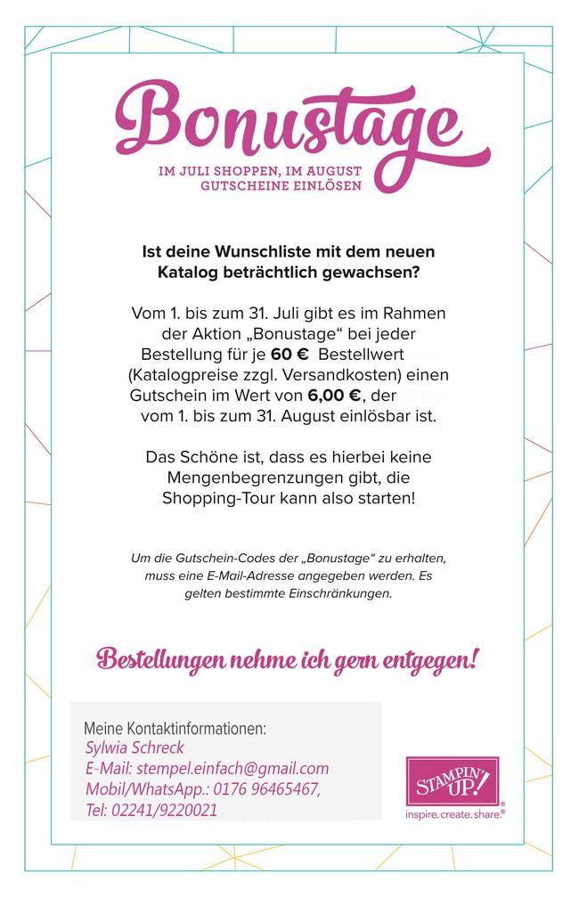 Stampin up-6 Euro Gutschein-Aktion