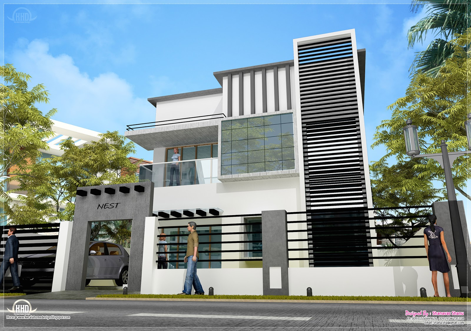 1600 contemporary modern home design home kerala for Small indian house plans modern
