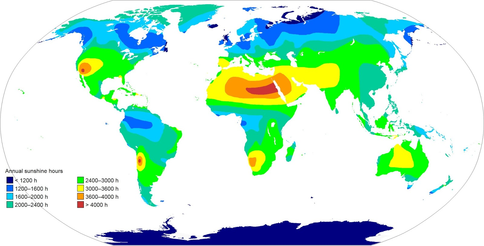 Annual sunshine hours map of the World