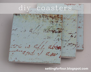 Easy DIY coasters: see this quick and easy tutorial using leftover tile and Mod Podge - make these DIY Decor accessories for your home or for a gift! Stocking stuffer, teacher gift, Modther's Day gift, neighbor gift, hostess gift | www.settingforfour.com
