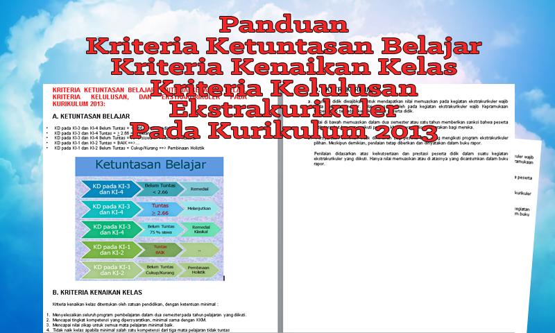 Panduan Kriteria Ketuntasan Belajar, Kriteria Kenaikan Kelas, Kriteria Kelulusan, Ekstrakurikuler Pada Kurikulum 2013