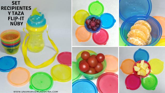 Set de recipientes y taza Flip-It Nuby