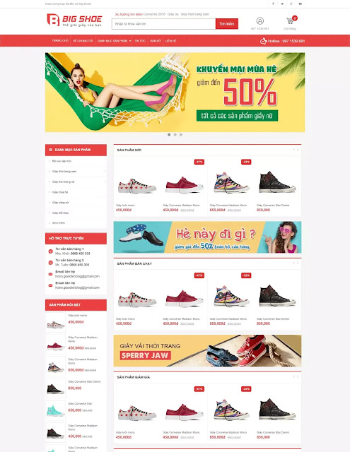 Template blogspot bán giày Big Shoe [Update 2020] - Blogspotdep.com