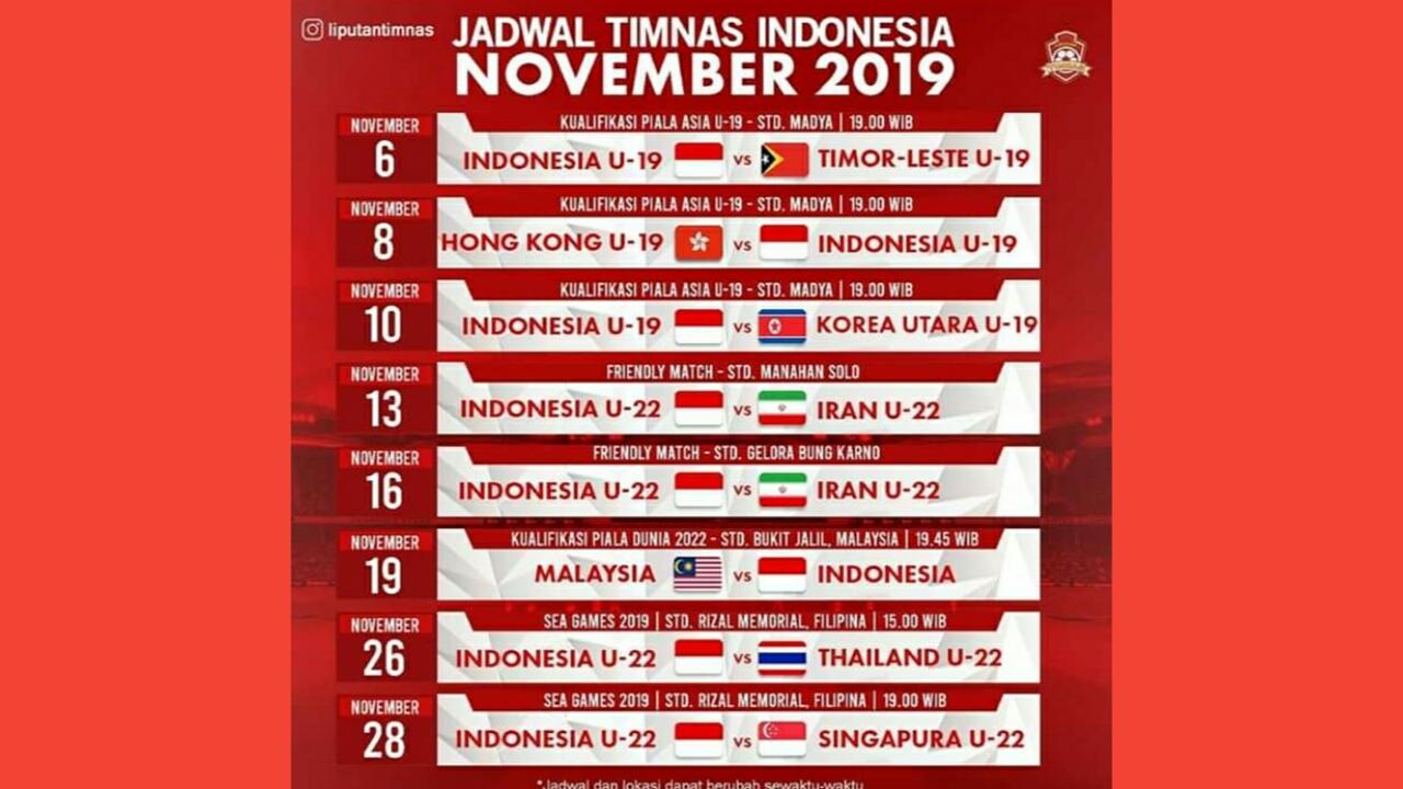 Jadwal Timnas U19 di Kualifikasi Piala AFC U-19 2020