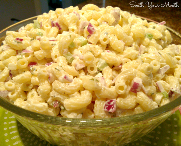 Super flavorful cool and creamy macaroni salad with red onions, celery, mayo and a ton of flavor.