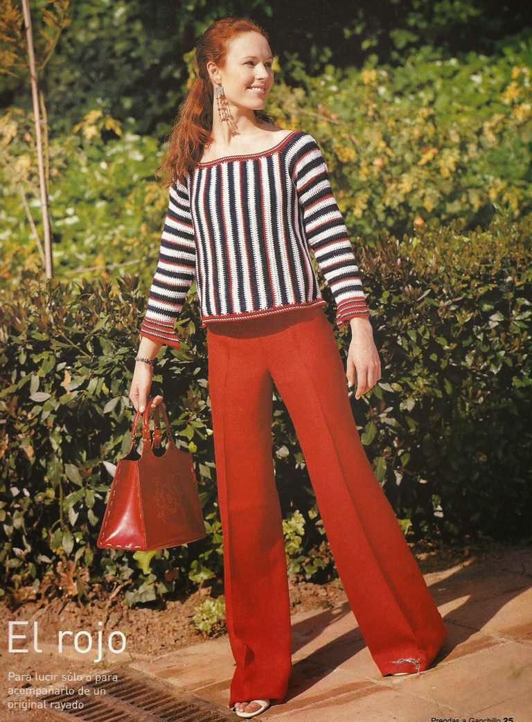 Blusa o Jersey Rayado a Crochet