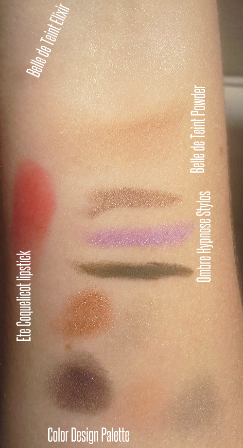 Swatches of Belle de Teint Elixir, Ombre Hypnose Stylo, Jungle Pop Color Design palette, Ete Coquelicot Shine Lover