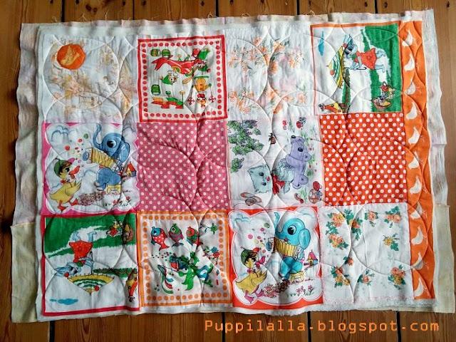 Puppilalla Design Vintage Handkerchief Patchwork Baby Quilt Blanket