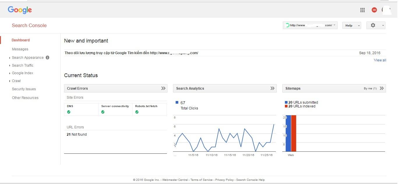 Thống kê trên webmaster tools