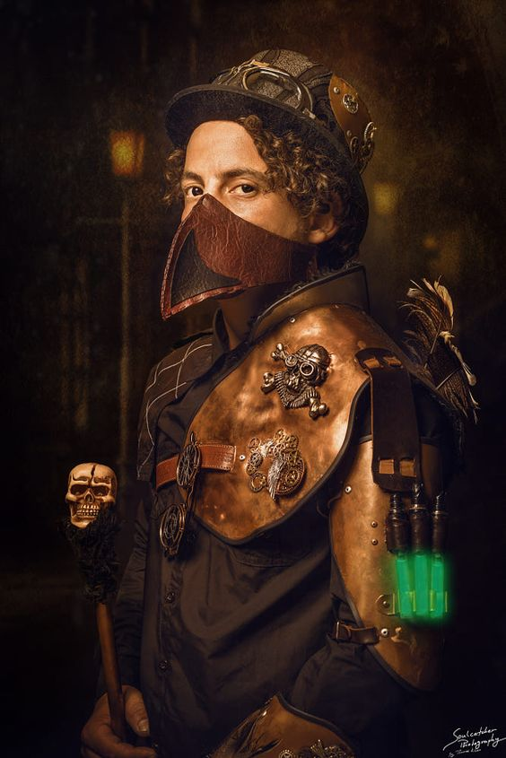steampunk man dressed in hat, goggles, leather mask (plague doctor mask), cane, leather armor, bracer, glowing green tubes